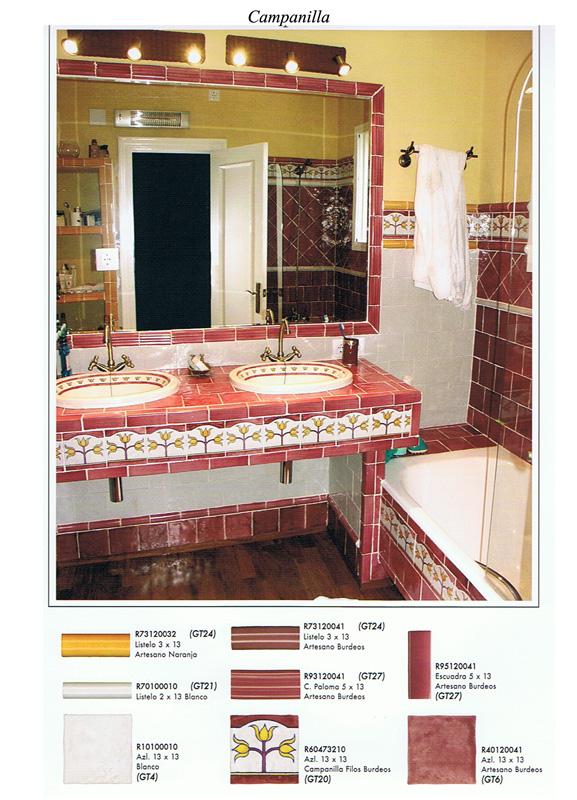 Azulejos Para Baño Pintados A Mano:Baños Colores Artesanos